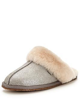 clarks-warm-glitz-suede-mule-slipper-silver