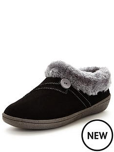 clarks-eskimo-snow-suede-slipper-black