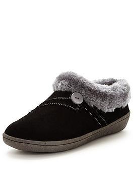 clarks-eskimo-snow-suede-slipper-black