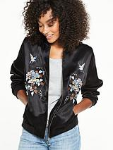 Floral Embroidered Sateen Bomber Jacket