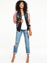Colourblock Bird Embroidery Bomber