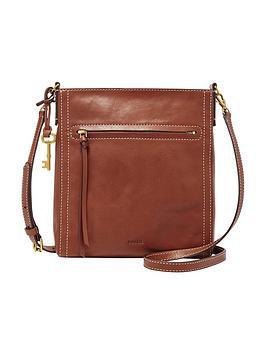 Fossil Glazed Leather Crossbody Bag