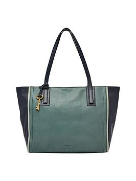 Fossil Leather Colour Block Tote
