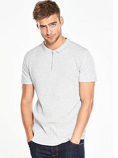 v-by-very-short-sleeve-collar-ribbed-polo