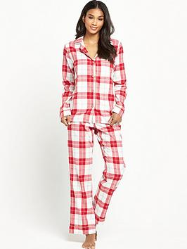 ugg-australia-raven-cosy-plaid-flannel-pyjama-set-lipstick-red