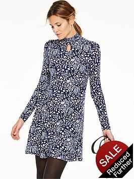 v-by-very-shirred-neck-keyhole-jersey-swing-dress