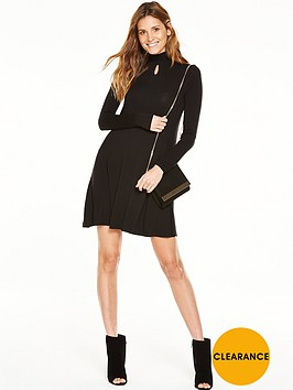 v-by-very-shirred-neck-keyhole-swing-dress