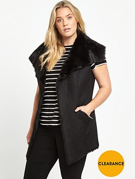 v-by-very-curve-suedette-fur-lined-gilet-black