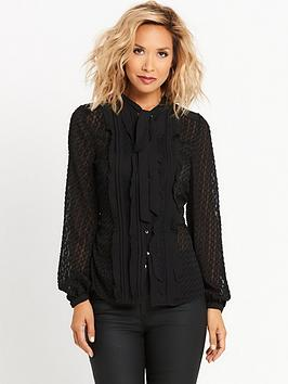 myleene-klass-burnout-pussybow-blouse-black