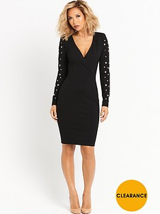 myleene-klass-eyelet-sleeve-blazer-dress-black