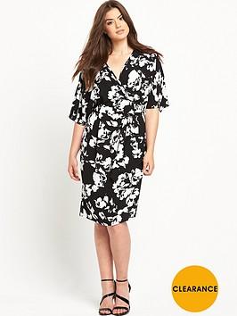 v-by-very-curve-woven-wrap-kimono-sleeve-dress-blackwhite