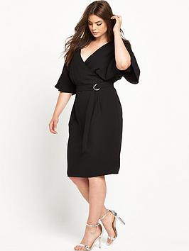V By Very Curve Woven Wrap Kimono Sleeve Dress  Black