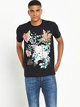 Oriental Floral Short Sleeve T-Shirt