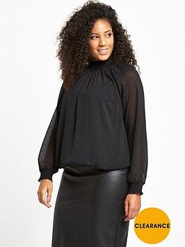 v-by-very-curve-metallic-dobby-spot-high-neck-blouse