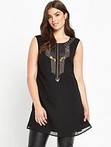 Bead and Embroidered Sleeveless Tunic - Black