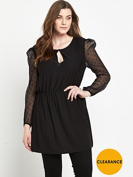 so-fabulous-spotted-mesh-tassle-front-jersey-top