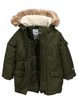 Mini V By Very Boys Padded Parka With Faux Fur Trim