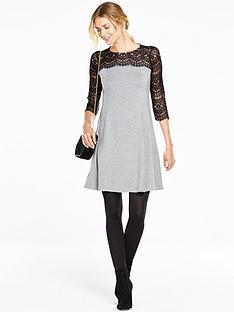 v-by-very-contrast-lace-sleeve-swing-dress