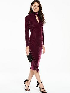v-by-very-velvet-high-neck-midi-dress
