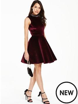 v-by-very-velvet-high-neck-skater-dress