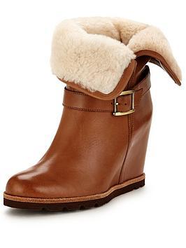 Ugg Ellecia Fold Down Wedged Boot  Chestnut