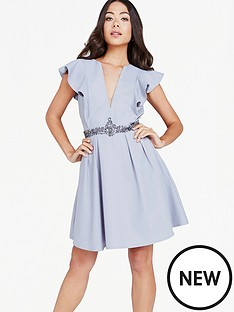 little-mistress-little-mistress-plunge-ruffle-dress-grey