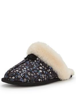 ugg-australia-scuffette-liberty-print-slipper-black