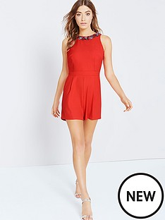 little-mistress-embellished-neck-playsuit-tomato