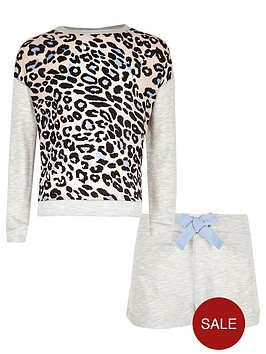 river-island-girls-grey-animal-print-sweatshirt-and-shorts-pyjama-set