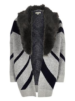 river-island-girls-navy-aztec-cardigan-with-faux-fur-collar
