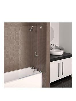 Aqualux Aqua 3 Half Frame Radius Bath Screen  White Hinge