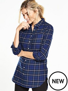 v-by-very-frayed-hem-longline-check-shirt