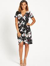 Printed Wrap Front Dress