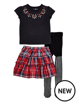 mini-v-by-very-girls-floral-top-tartan-skirt-and-tights-set