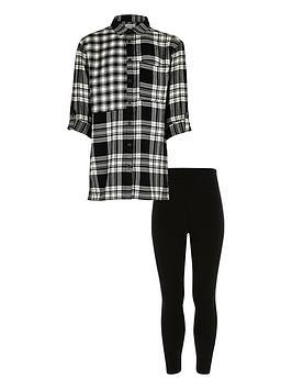 river-island-girls-black-check-shirt-and-leggings-set