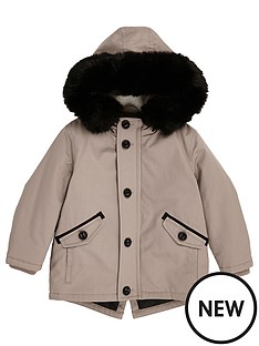 river-island-mini-boys-stone-parka-with-faux-fur-hood