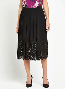 oasis-pleated-lace-trim-skirt-black