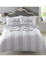 Sweet Dreams Sleep Tight Duvet Set - Grey