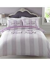 Sweet Dreams Sleep Tight Duvet Set - Lilac
