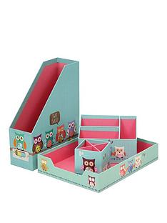 go-stationery-owls-desk-organiser-set