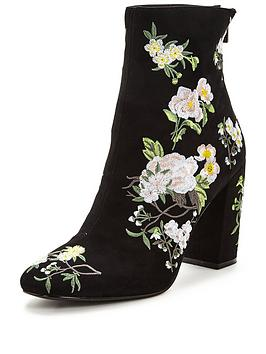 miss-selfridge-embroidered-ankle-boot-black