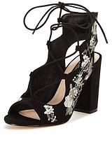 Miss Selfridge BLACK EMBROIDERED TIE SANDAL