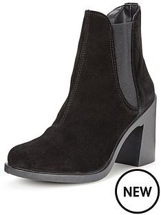 miss-selfridge-suede-ankle-boot-black