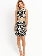 Metallic Lace Fitted Dress - Cream