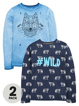 V By Very Boys Wild Wolf Long Sleeve TShirts (2 Pack)