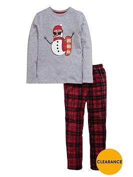 v-by-very-boys-christmas-snowman-jersey-and-fleece-pyjamas