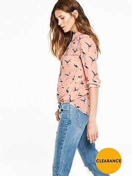 v-by-very-flamingo-print-button-through-blouse