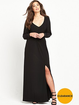 v-by-very-curve-long-sleeve-plunge-maxi-dress