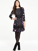 Crochet Trim Printed Dress