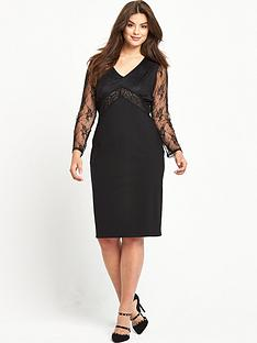 so-fabulous-lace-sleeve-beaded-top-dress-black